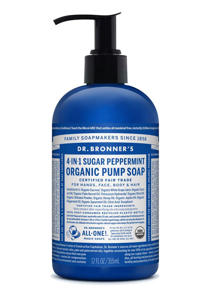 Dr Bronner's Pump_Soap-355ml-Peppermint