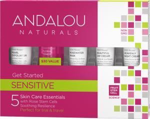 Andalou Naturals Get Started 1000 Roses Sensitive 5 Skin Care Essentials Minis