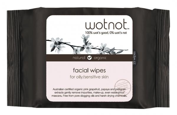 Wotnot Facial Wipes Oily/Sensitive Skin 25pk