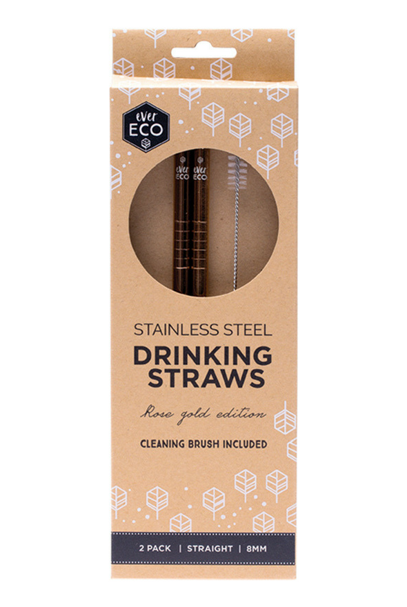 Ever Eco Straws Rose Gold Straight 2 Pack