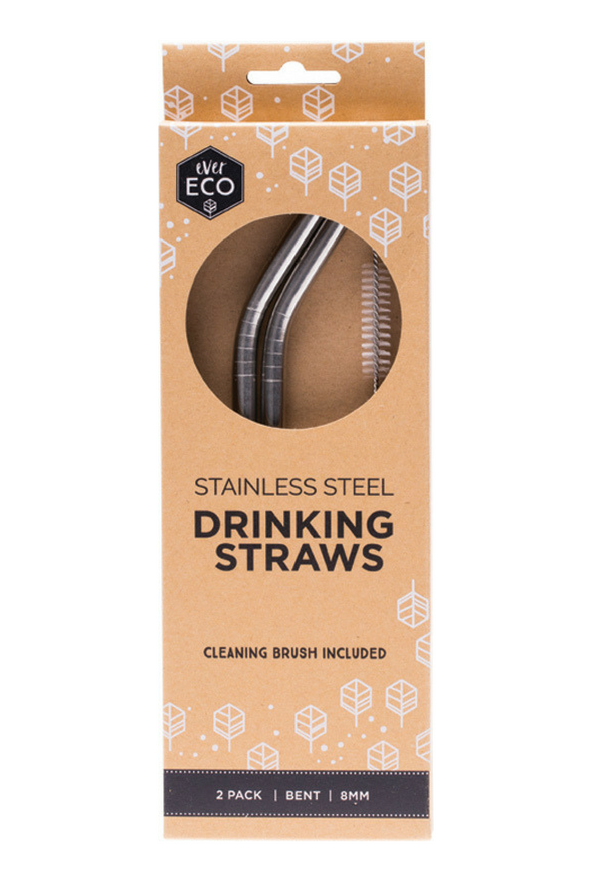 Ever Eco Straws Stainless Steel Bent 2 Pack