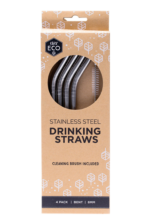 Ever Eco Straws Stainless Steel Bent 4 Pack